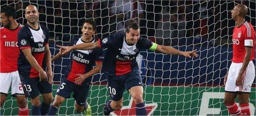 Zlatan Ibrahimović gör mål på Benfica i förra omgången.