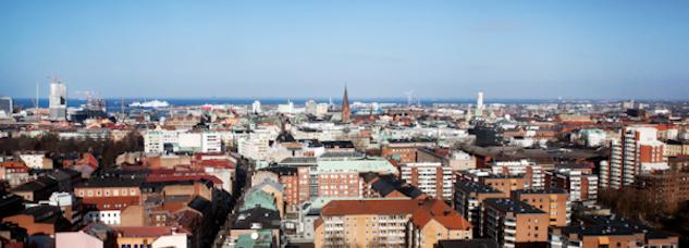 Delar av Malmö ovanifrån.