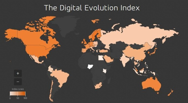 Karta över den digitala utvecklingen