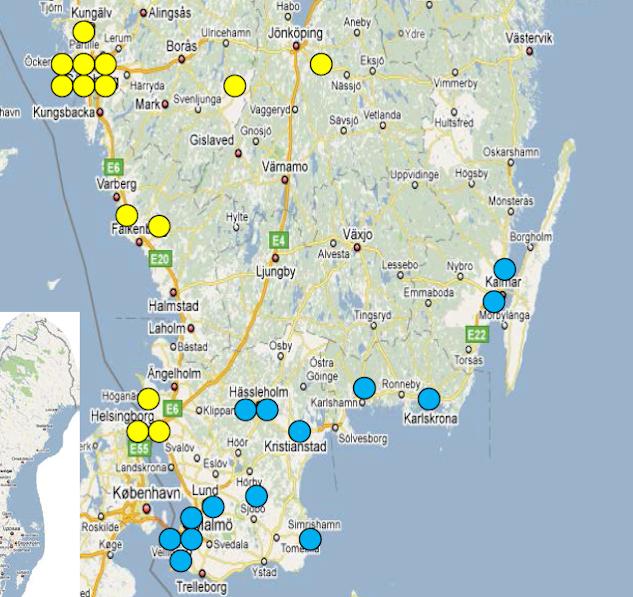GUL = div 2 västra götaland BLÅ = div 2 södra götaland|kartbild: SvFF