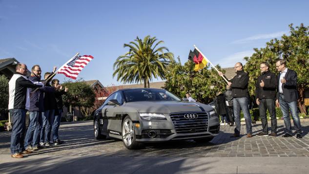 Självkörande Audi A7 på väg från Silicon Valley till CES 2015 i Las Vegas.
