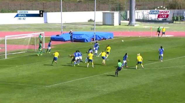 Det blev svensk förlust med 0 - 2 mot Brasilien i Algarve Cup.|©  : Eurosport